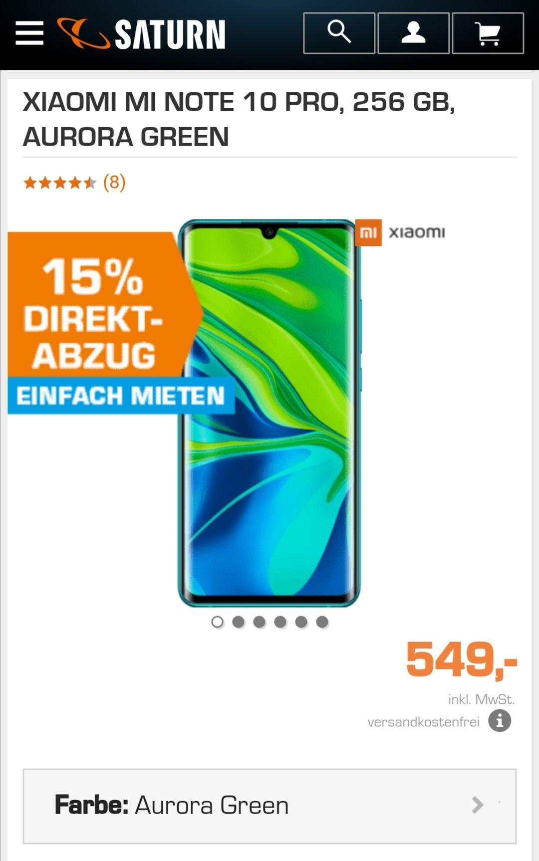 Xiaomi mi note 10 pro 15% Abzug