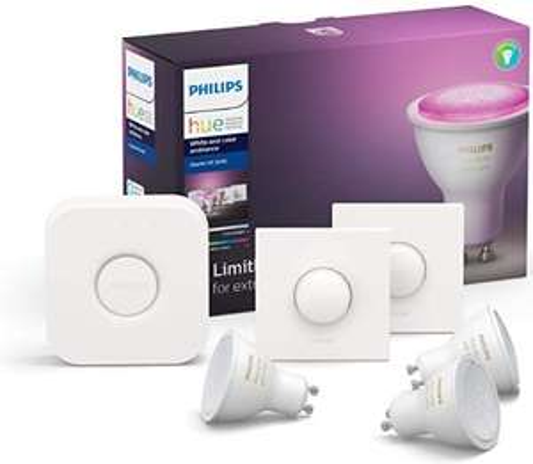 Philips Hue White & Color Ambiance 3x GU10 + 2x Smartbutton + Bridge im Starter Set