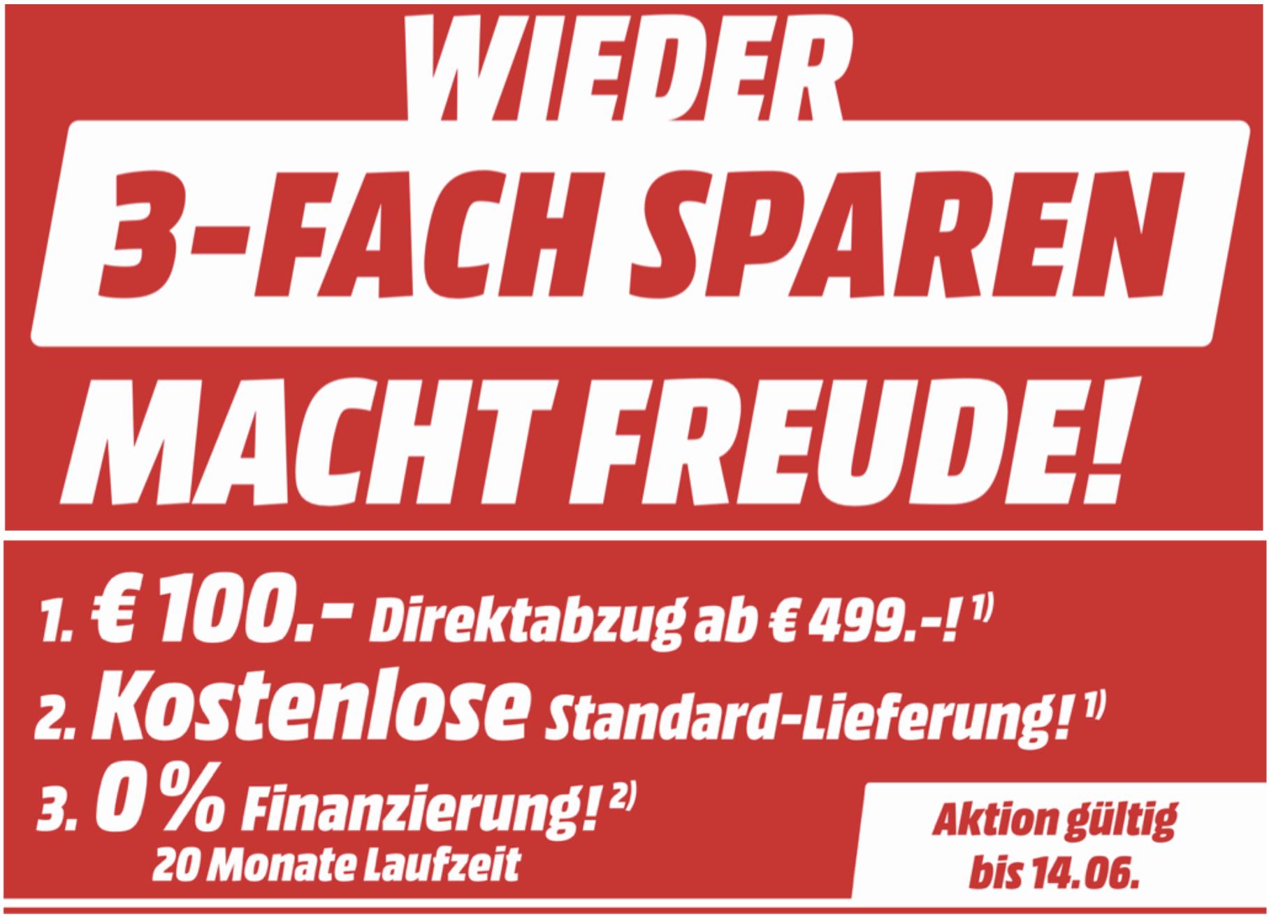 100€ Direktabzug + kostenlose Lieferung auf Haushaltsgroßgeräte, Bodenpflege, Kaffeevollautomaten usw. ab 499€ - auch im Markt gültig