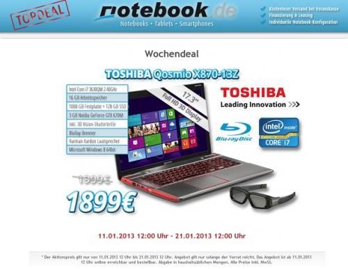 Toshiba Qosmio X870-13Z mit 100€ Ersparnis zum Bestprice!