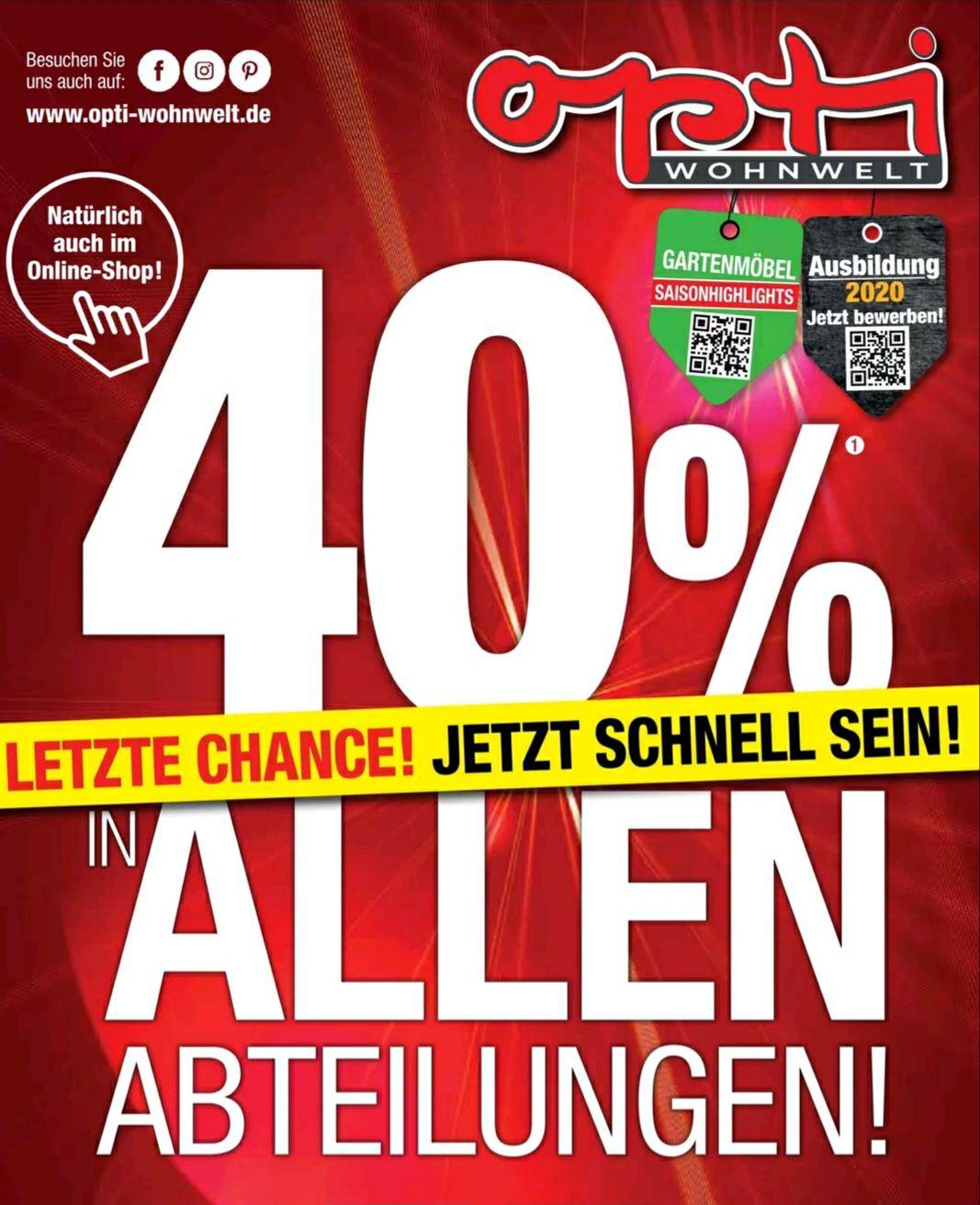 40% Rabatt bei Opti-Wohnwelt