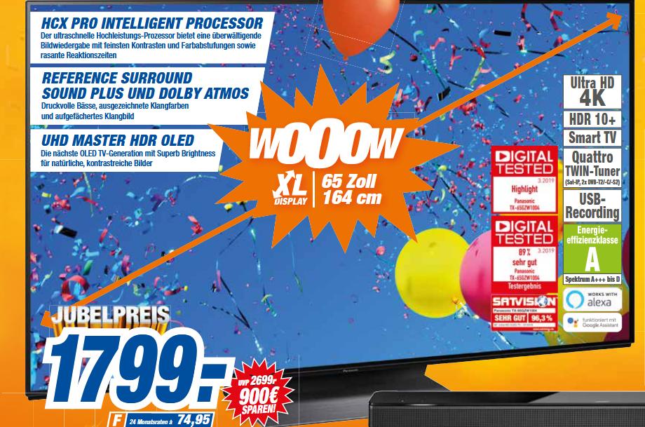 "[lokal: expert hem ab 03.06.] Panasonic TX-65GZW1004 - 65"" 4K UHD OLED Smart TV (120Hz, 10bit, Dolby Atmos)"