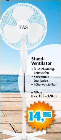 Standventilator Ø 40 cm, 3 Geschwindikeiten für 14,95 Euro [Thomas Philipps]