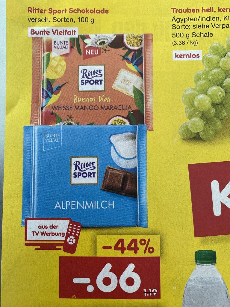 [Netto MD] Ritter Sport Schokolade bunte Vielfalt für 0.66€ | Lavazza Kaffee versch. Sorten für 8.99€