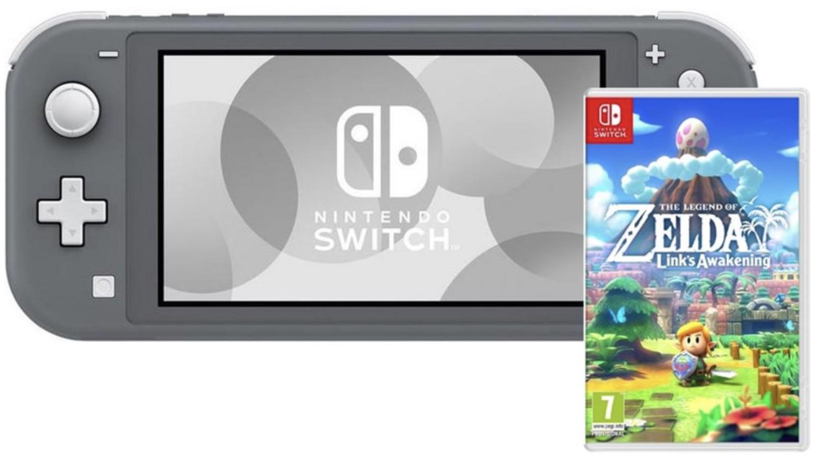 NINTENDO Switch Lite Spielkonsole grau + The Legend of Zelda Links Awakening für zusammen 224,98€ inkl. Versandkosten