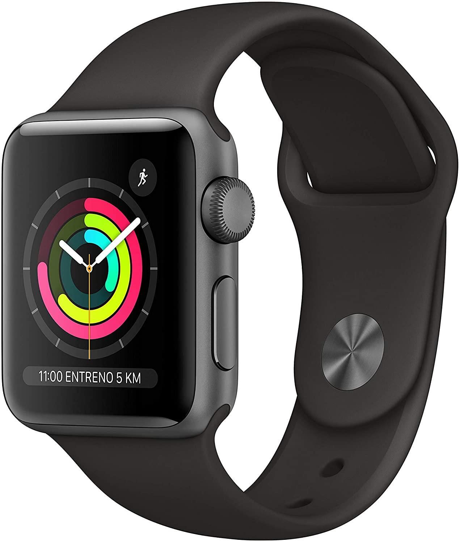 Apple Watch Series 3 (GPS), 38 mm Aluminiumgehäuse, schwarz, mit Sportarmband,