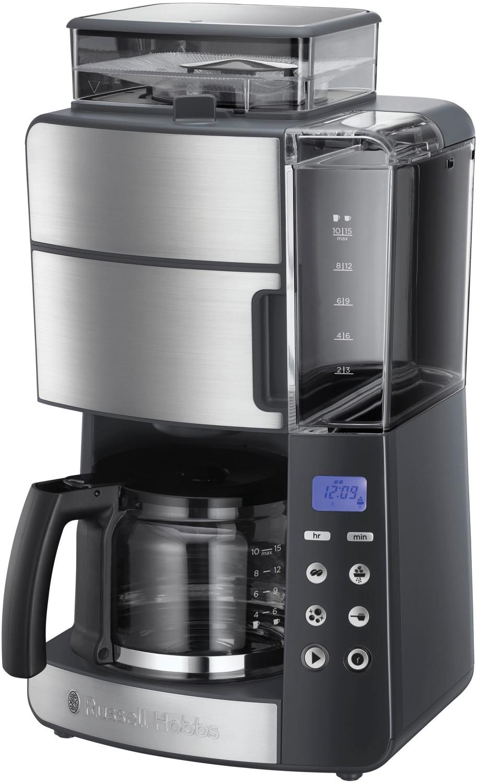 [B-Ware] Russell Hobbs Grind & Brew Kaffeemaschine mit Mahlwerk (1000W, 1.25l Glaskanne, 250g Bohnenbehälter, 3 Mahlgrade, Timer, Edelstahl)