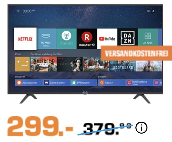 HISENSE H 55B7100 138 cm 55 Zoll 4K UHD SMART TV für 299€ inkl. Versandkosten