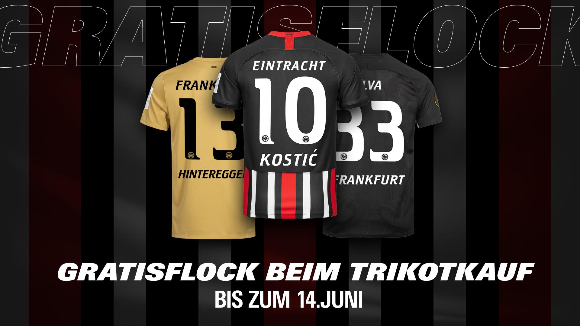Eintracht Frankfurt Gratisflock beim Trikotkauf bis zum 14.06.2020