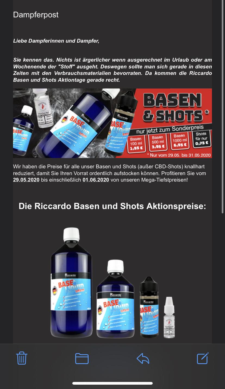 Dampfen: Basen und Shots