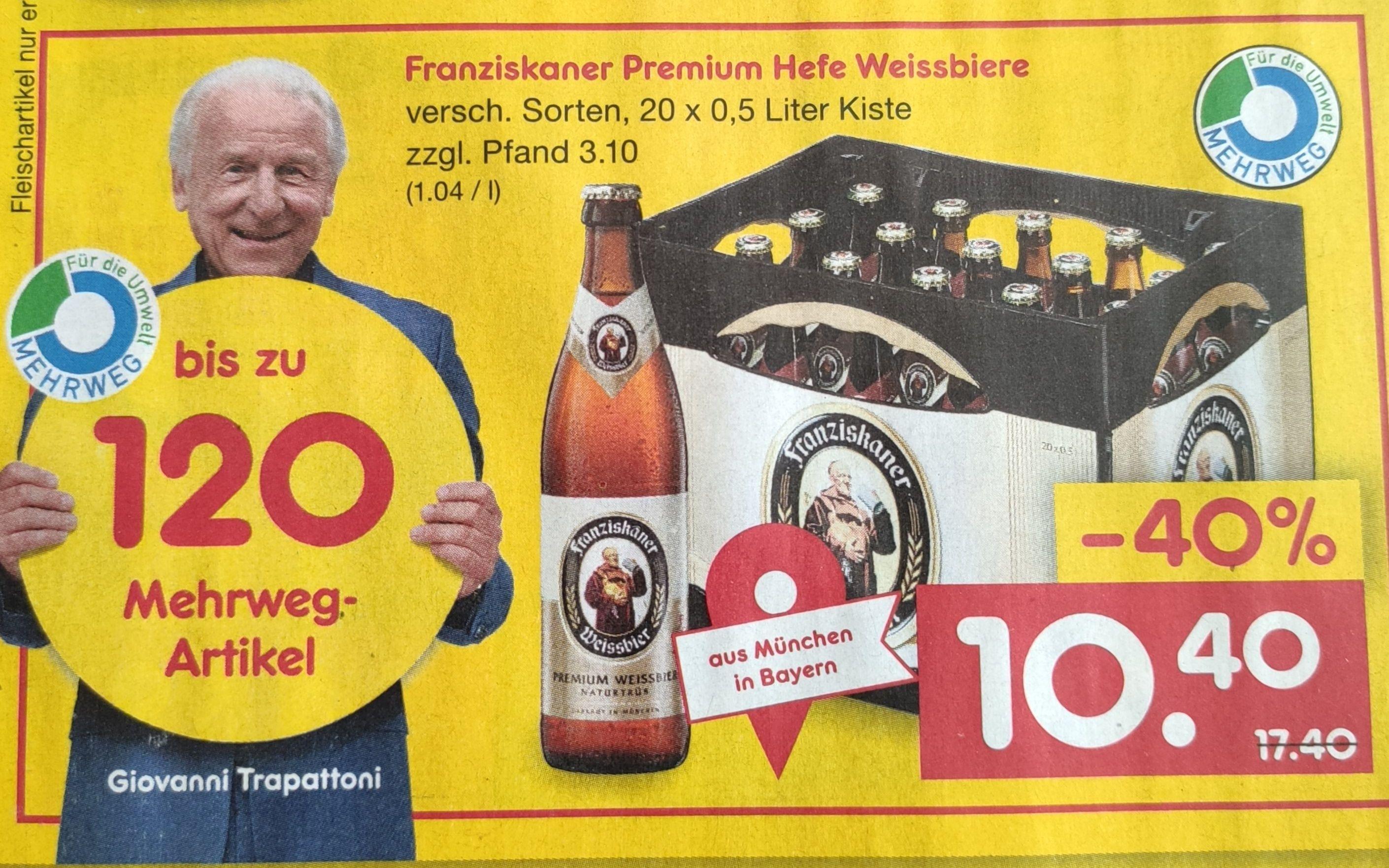 Franziskaner Weissbier 20 x 0,5l 10,40€ / Hacker-Pschorr Münchner Hell 20 x 0,5l 11,40€[Netto MD Bier Angebote - lokal Region München]