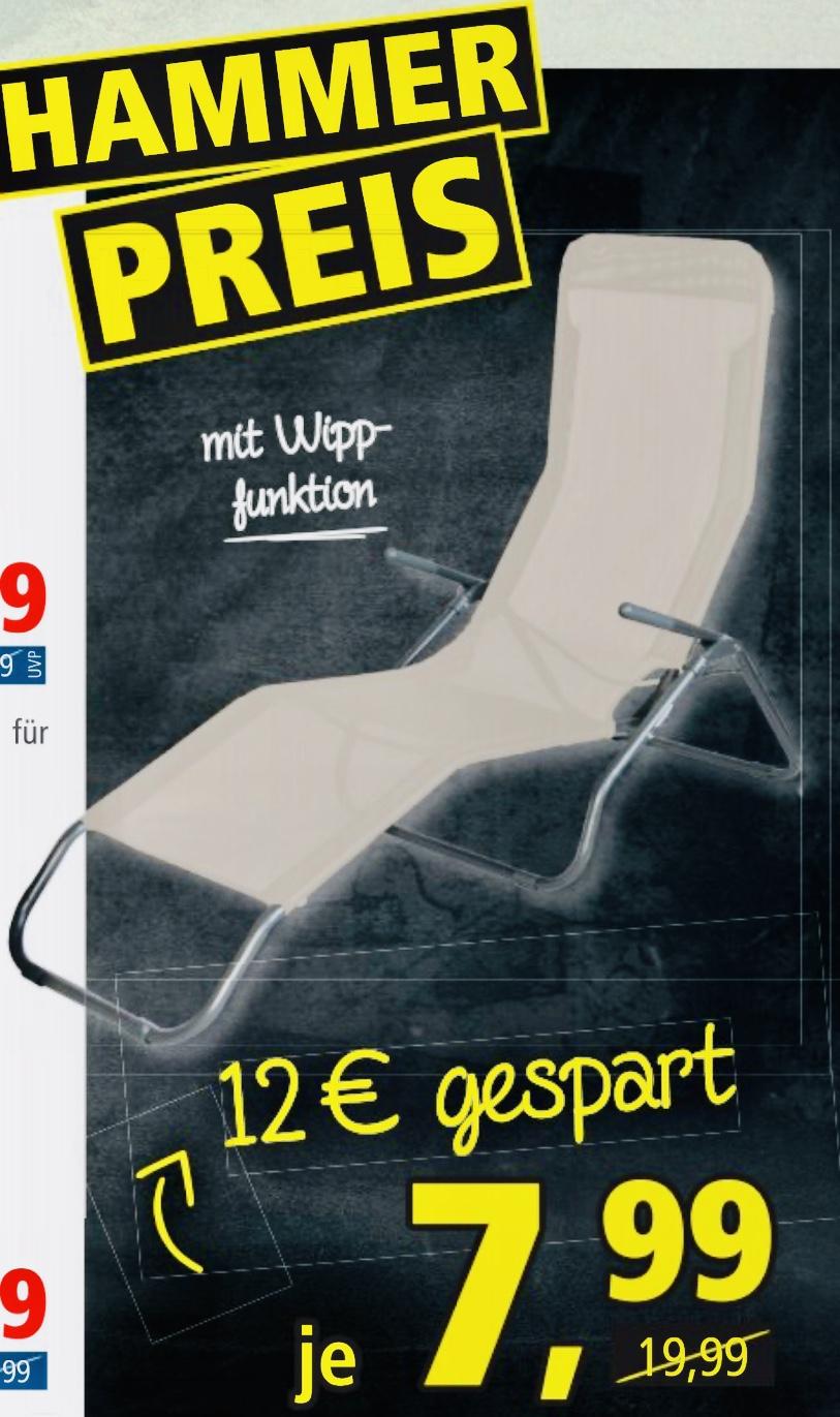 Lokal Pfennigpfeiffer: Bäderliege Sonnenliege mit Wippfunktion Textilgewebe pflegeleicht für nur 7,99€