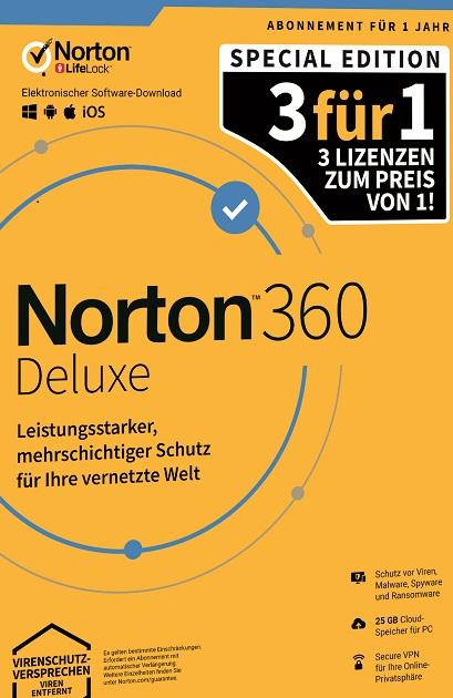 NORTON 360 DELUXE 2020 3für1 3 Geräte / 1 Jahr inkl. 25GB, KEIN ABO