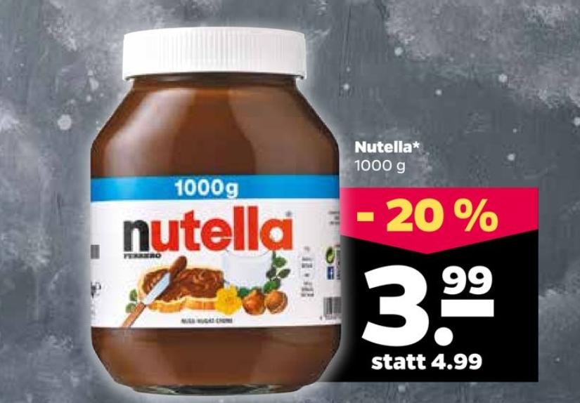 [Netto] Nutella 1.000 Gramm für 3.99 Euro