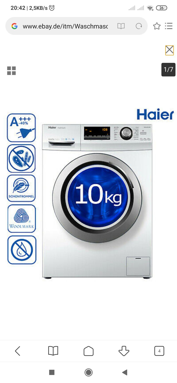 A+++ Waschmaschine Haier HW100-BP14636 10kg 1400 U/Min