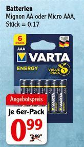 VARTA Alkaline-Batterien Energy Mignon AA oder Micro AAA 6-Stück-Packung [Globus]