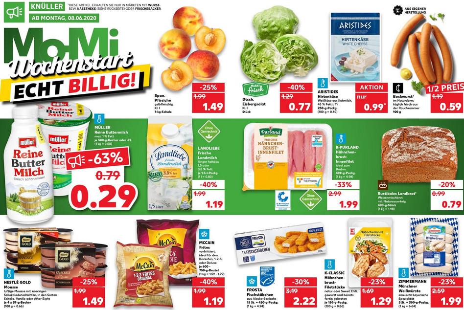 Kaufland ab 08.06 / Landliebe Landmilch / Frosta Fischsstäbchen / Müller Reine Buttermilch / Kinder Cards / Metaxa