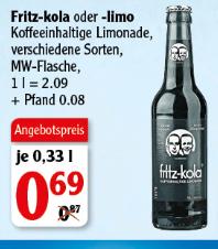 [Globus Rostock] Fritz Cola / Brause 0,33l Flasche - 0,69 Euro