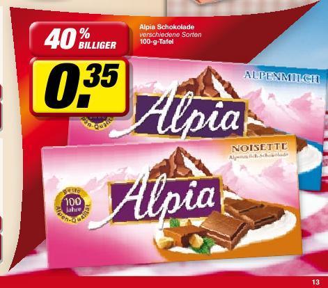 [lokal?] Toom HH: Alpia Schokolade 0,35 Euro
