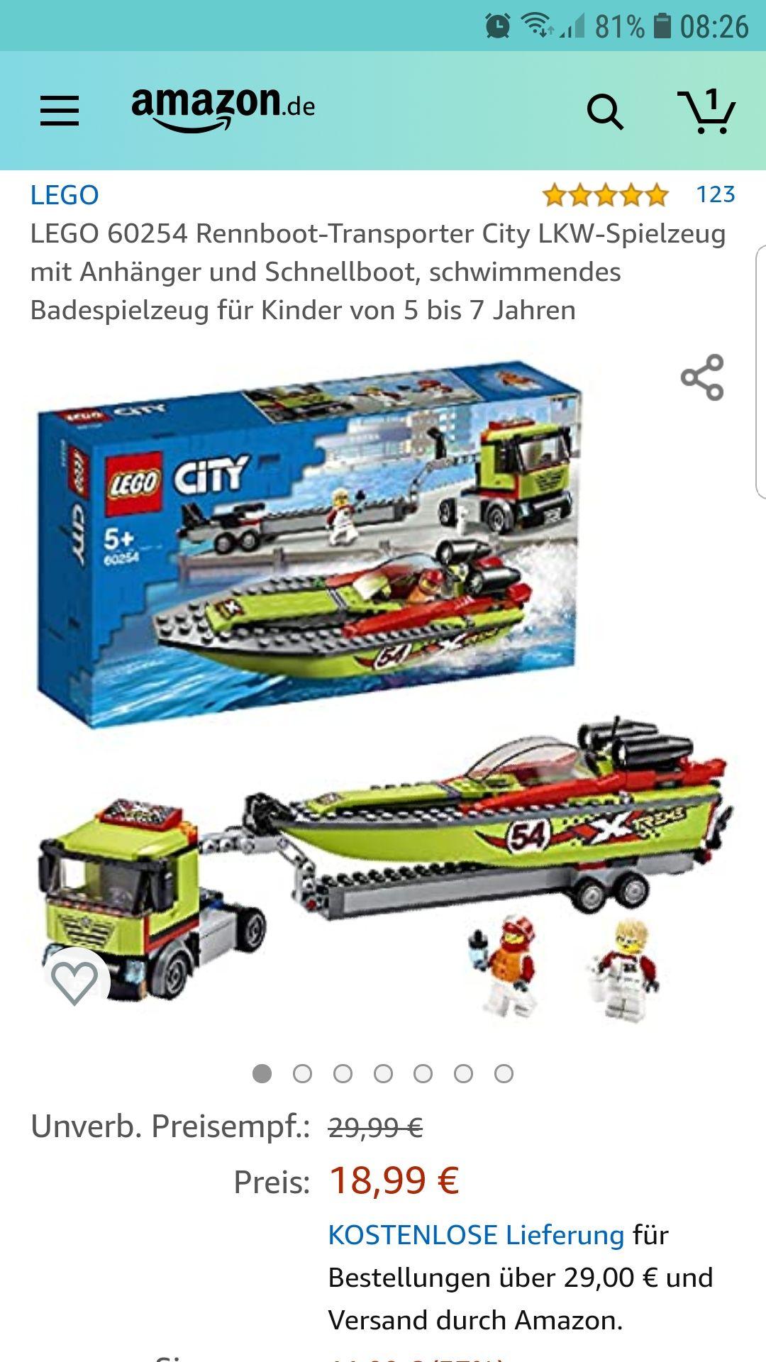 Amazon LEGO City 60254 Rennboot-Transporter