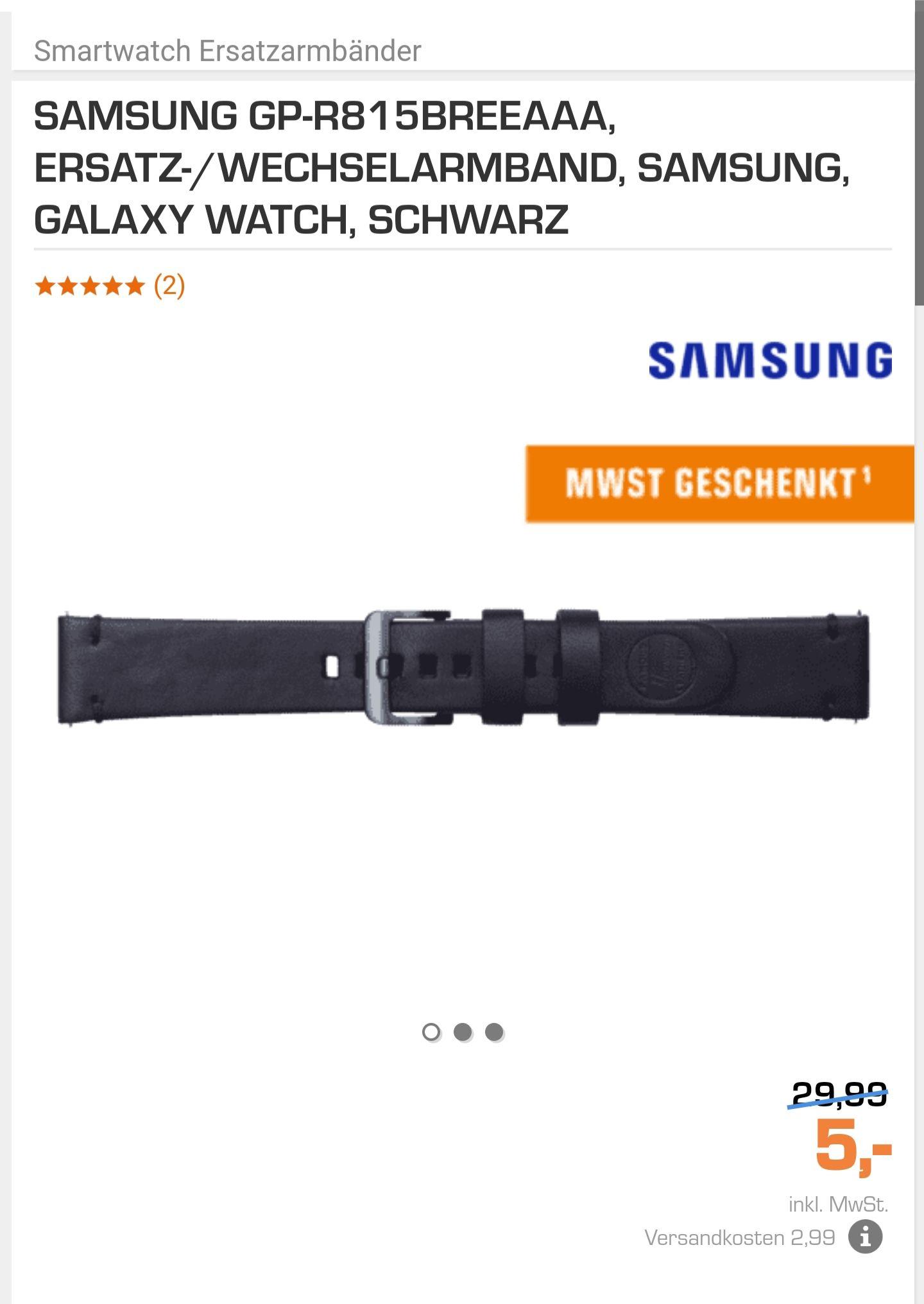 (Saturn) Galaxy Watch Leder Ersatzarmband Essex für 5€ + 2.99€ VSK statt 29,99€ UVP