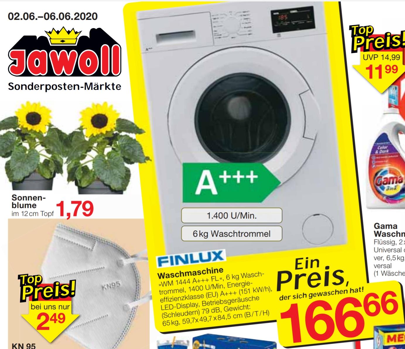 (Lokal jawoll) Finlux Waschmaschine A+++ 1400 U/min 6 kg Waschtrommel