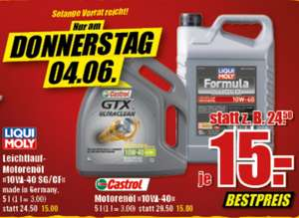 Liqui Moly Formula Super / Castrol GTX Ultraclean je 10W40 5L für 15€ [ B1 Baumarkt Dinslaken ]