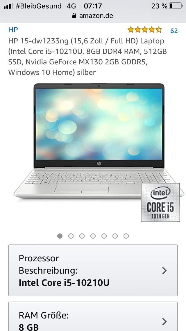 HP 15-dw1233ng (15,6 Zoll / Full HD) Laptop (Intel Core i5-10210U, 8GB DDR4 RAM, 512GB SSD, Nvidia GeForce MX130 2GB GDDR5, Windows 10)