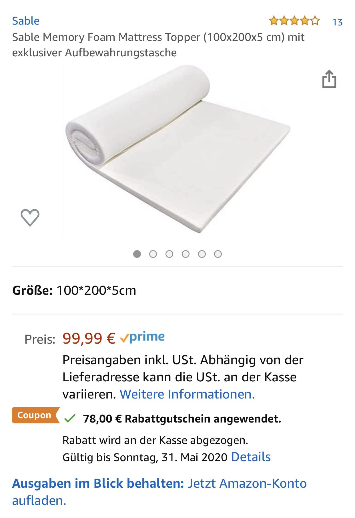 Sable Memory Foam Mattress Topper (100x200x5 cm) mit exklusiver Aufbewahrungstasche