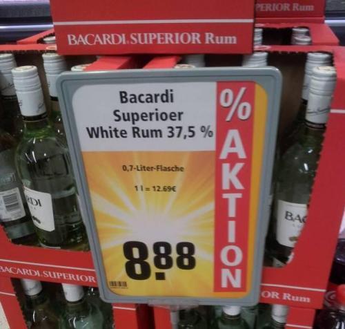 Bacardi White Rum 8,88 Rewe Apensen (eventuell bundesweit? )