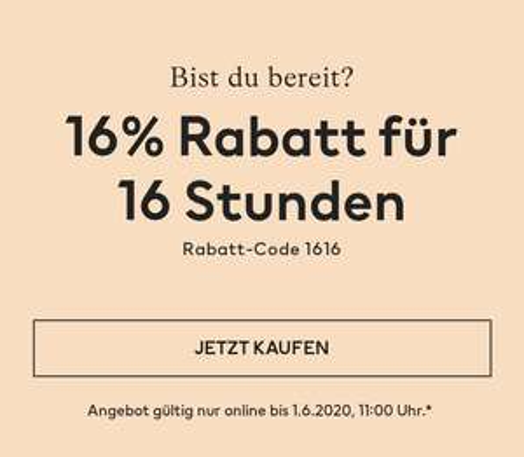 16% Rabatt bei H&M für 16 Stunden