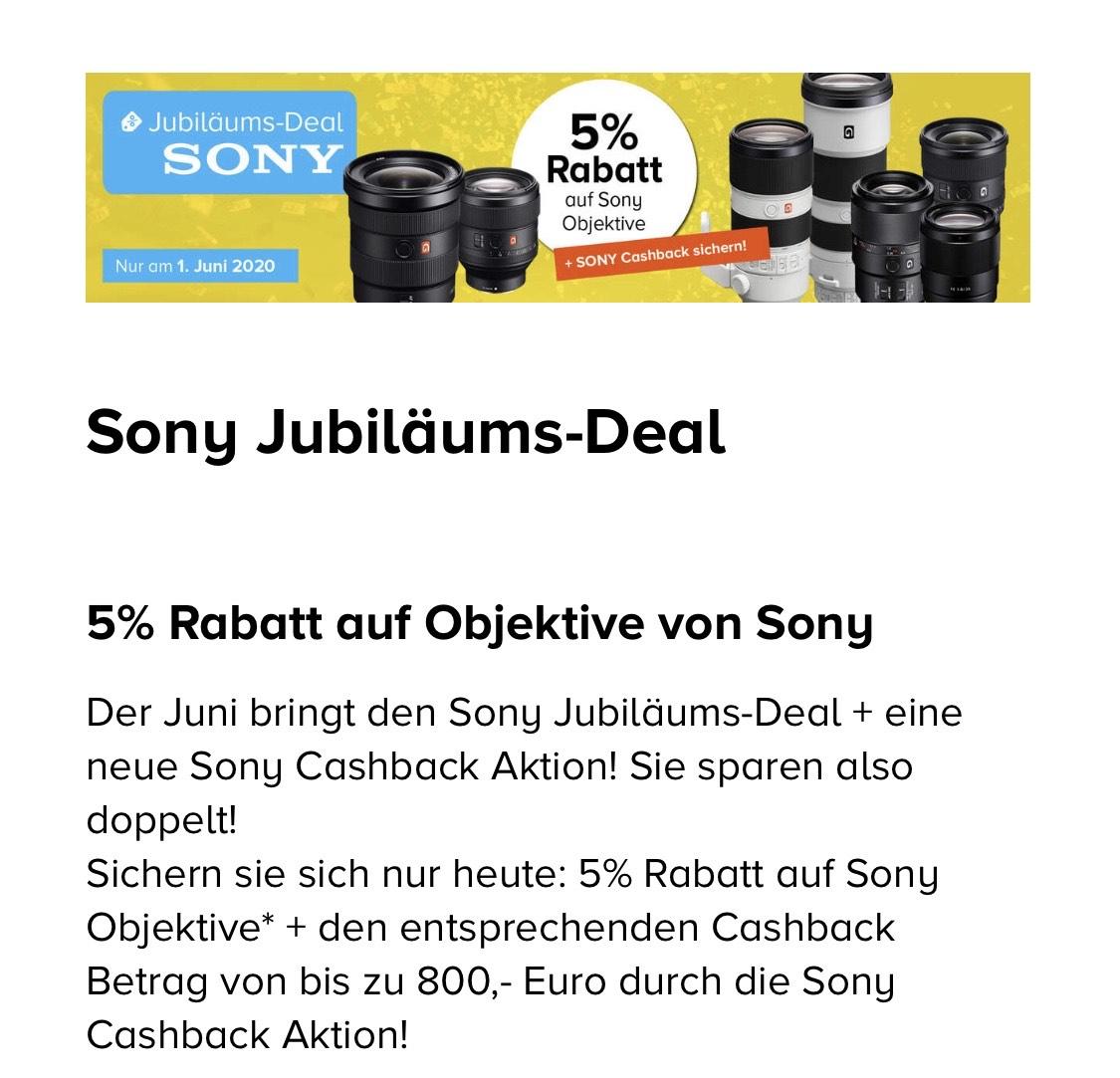 5% Rabatt auf Sony Objektive + Cashback - Jubiläums Deal bei Foto Koch