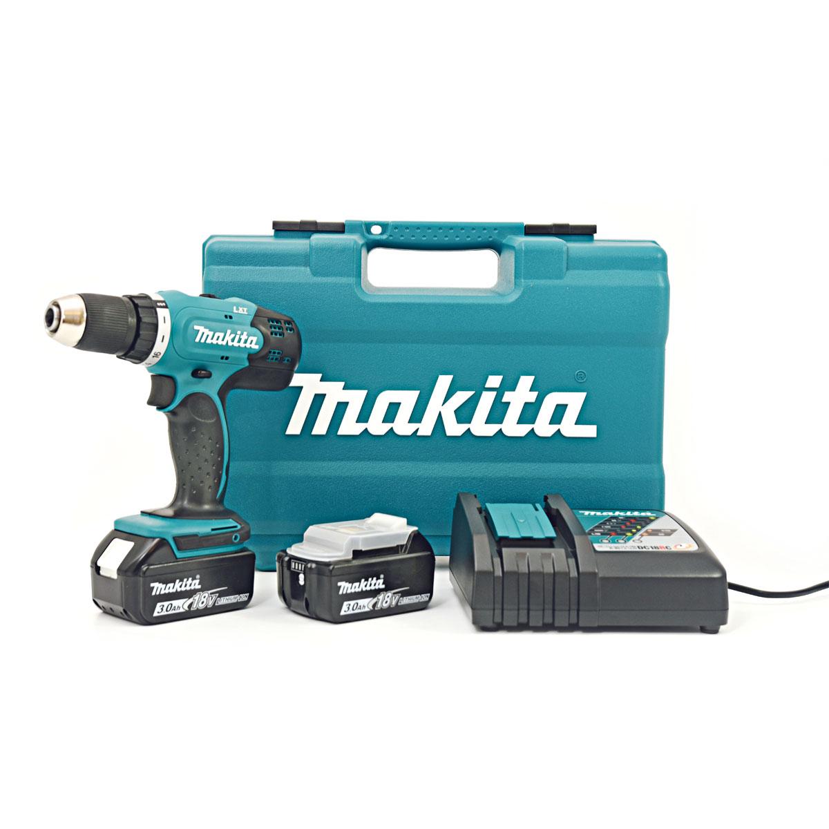 Makita DHP 453 RFE 18 V Li-Ion Akku Schlagbohrschrauber im Transportkoffer + 2 x 3Ah Akku für 162€ [Contorion]