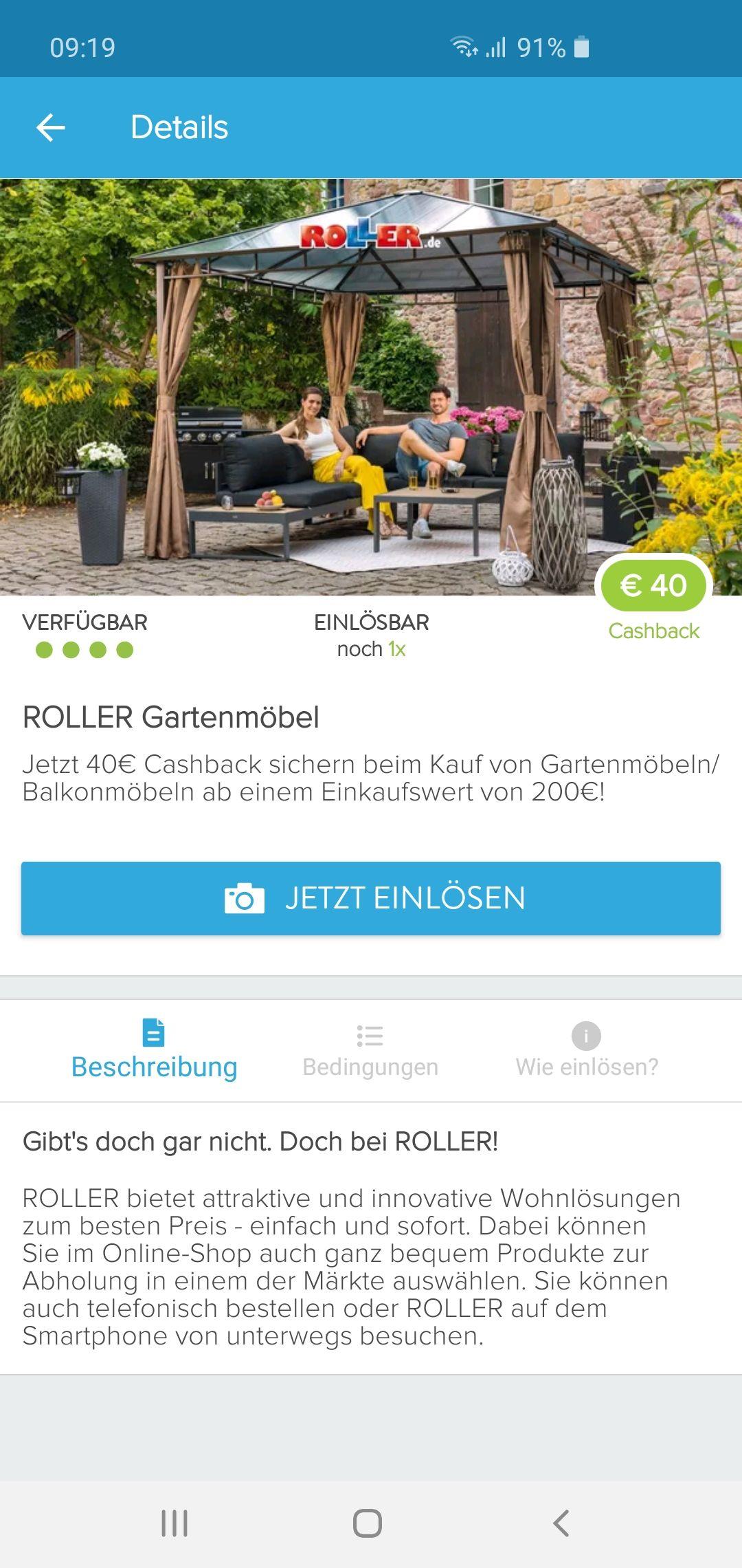 40€ Cashback beim Kauf von Gartenmöbel bei Roller ab 200€