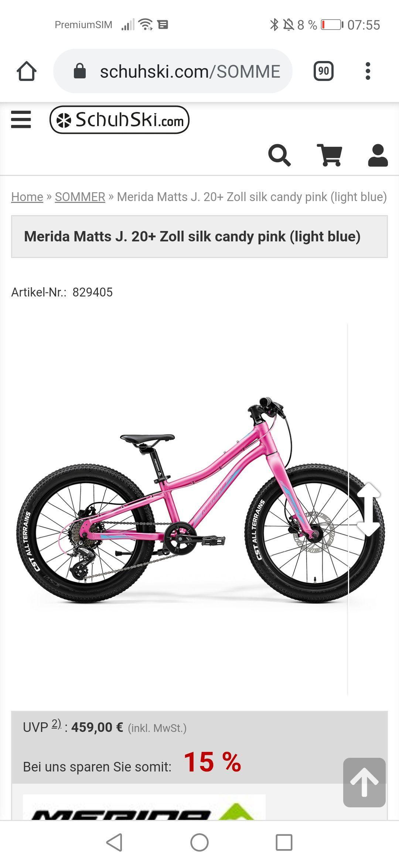 Merida Matts J. 20+ Zoll silk candy pink (Kinder Mountainbike 20 Zoll)