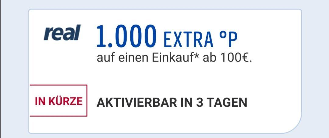 1000°P extra Payback bei Real ab 100€ Einkaufswert + 5 fach Pkt. auf alkoholfreie Getränke und Bier (APP)