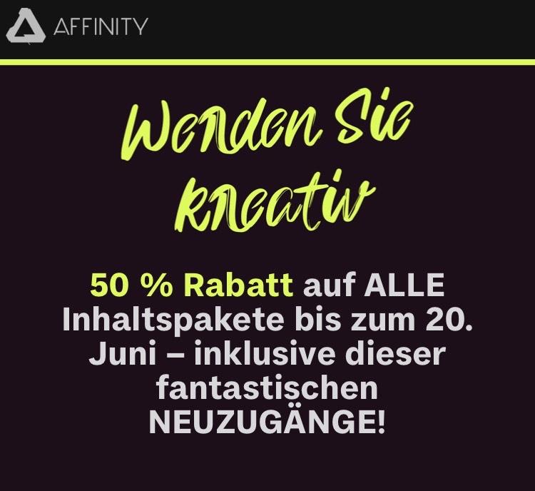 50% auf ALLE Inhalte im Affinity Store