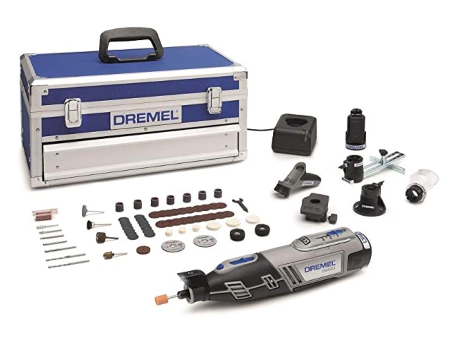 Dremel Platin Edition 8220 Akku Multifunktionswerkzeug (12V, Set mit 5 Vorsatzgeräten, 65 Zubehörteilen,Variable Drehzal 5.000-33.000 U/min)