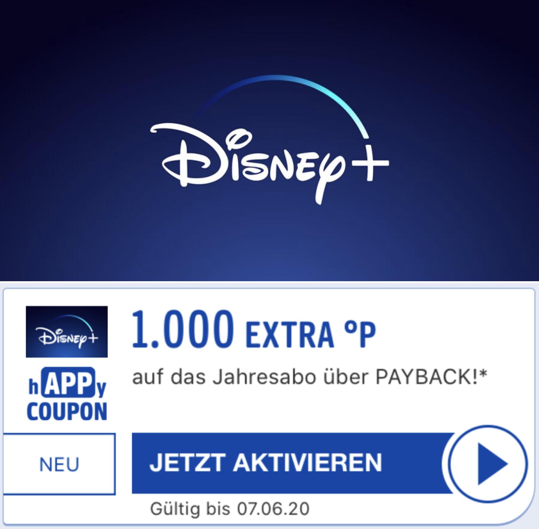 1000 Extra Punkte für das Disney+ Jahresabo - entspricht 10€ später auszahlbarem Cashback