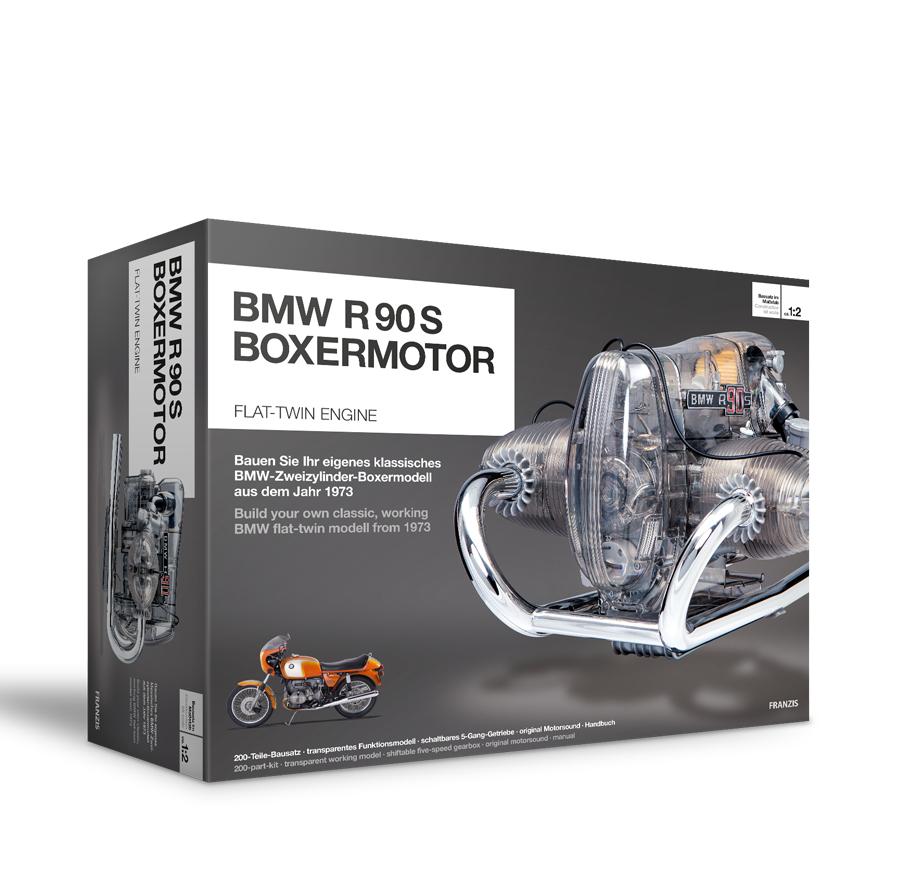 BMW R 90 S Boxermotor originalgetreues Modell, ( Bausatz mit schaltbarem 5 Gang Getriebe, über 200 Teile und Begleitbuch )