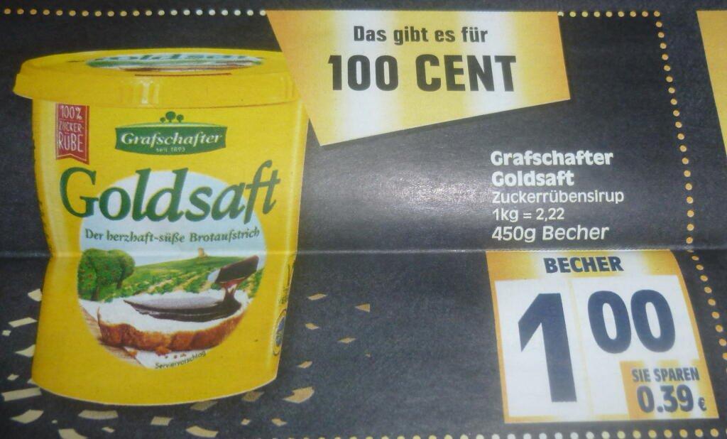 Edeka Hannover - Minden. Grafschafter Goldsaft 450g. Reiner Zuckerrübensirup ( Reebate effektiv 0,60€ )