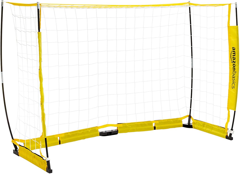 AmazonBasics – tragbares Fußballtor, schneller Aufbau, 1,22 x 2,44 m, gelb
