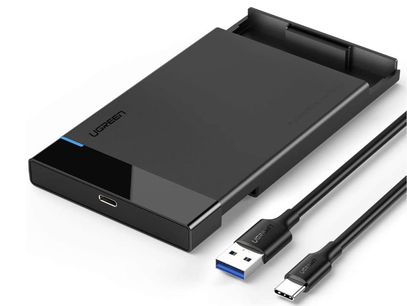 """[Amazon Prime] UGREEN Festplattengehäuse mit USB-C ( 2,5""""Externes Gehäuse bis 9.5mm Höhe, schnelle Übertragung durch USB-C 3.1 )"""