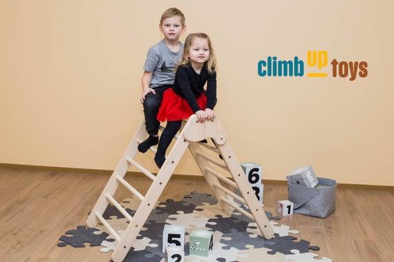 Großes faltbares Pikler-Dreieck 88cm hoch aus baltischer Birke | Kletterspielzeug | Bewegungsentwicklung und großes 3er Set mit Rutsche uvm.