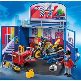"""PLAYMOBIL® 6157 - Aufklapp-Spiel-Box """"Motorradwerkstatt"""" für 24,98€"""