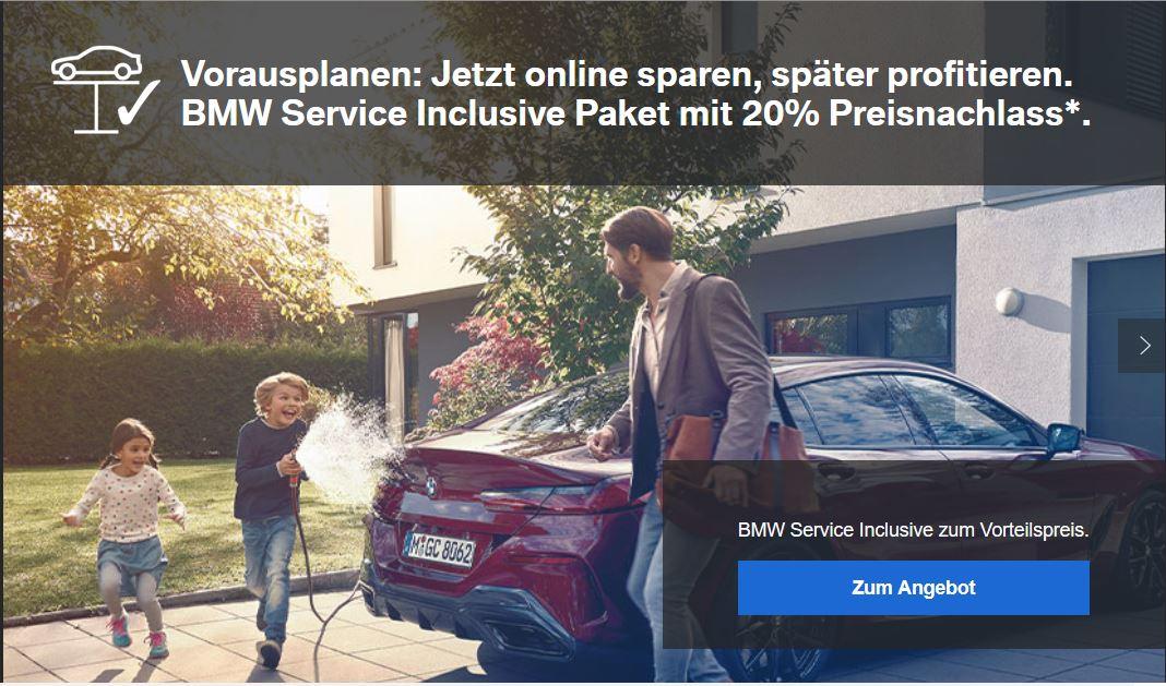 20% Preisnachlass auf das BMW Service inclusiv Paket - 60 Monate / 100.000 KM