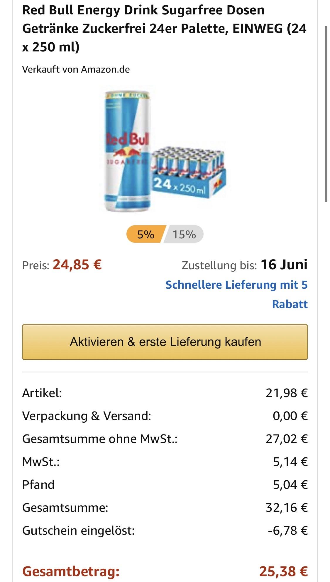 24x Red Bull sugarfree 250ml als Sparabo (+6€ Pfand)