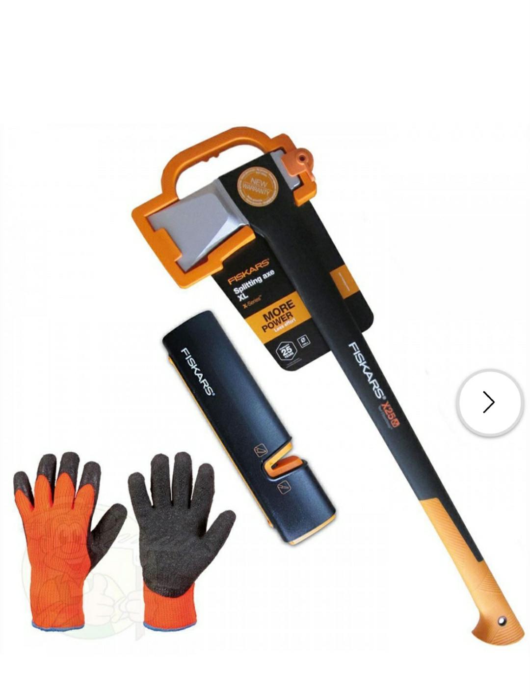 FISKARS Set Spaltaxt X25 -XL + Xsharp Axt- & Messerschärfer + Handschuhe durch Prämienaktion [Rakuten]