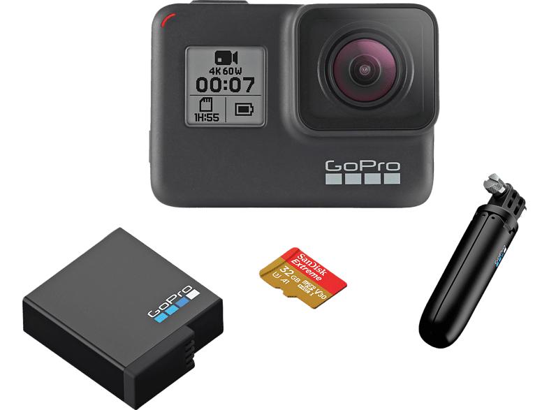 GoPro HERO7 Black Holiday Bundle (Action Cam inkl. Shorty-Stativ, Zusatzakku & 32GB SanDisk Extreme microSDXC)