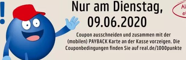 [real nur am 09.06.2020] 1.000 Payback Punkte bei einem Einkauf ab 100€